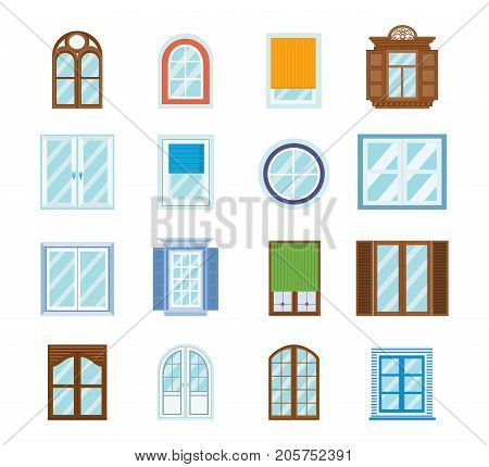 Set of wood window frames, isolated. Architecture design outdoor and exterior view, building and home theme. Windows for buildings, premises, structures. Vector illustration isolated.
