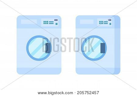 Bathroom, fittings and furniture in the bathroom. Modern washing machine, front view and side view. Vector illustration isolated on white background.