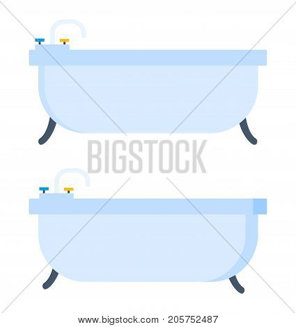 Light bathroom. Bathroom, home furniture, shower room. Vector illustration isolated flat cartoon, front and side view