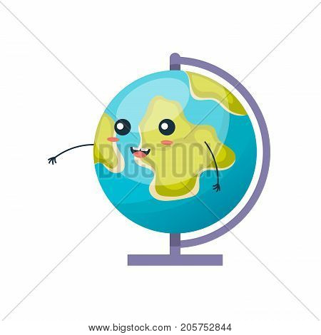 School funny office supplies. Earth globe, planet, map of continents of world. Happy globe with face. Cartoon school character globe, with hands up, smiling. Modern education. Vector illustration.