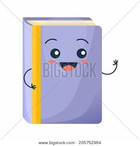 Concept of school funny office supplies. Happy school book with face. Cartoon happy character colorful school book smiles, waving. Education, development, school material. Vector illustration.