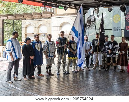 Jerusalem Israel September 23 2017 : Israeli knights - participants in the festival