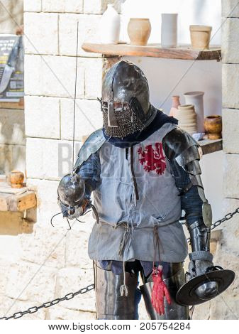 Jerusalem Israel September 23 2017 : Knight - participant in the festival