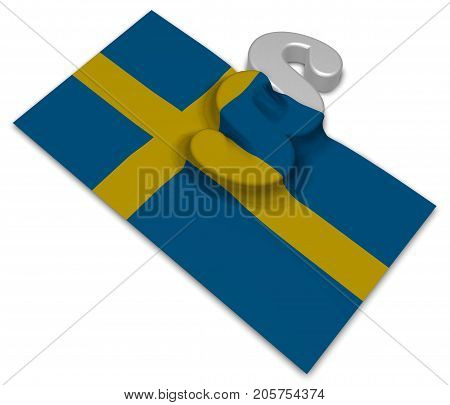 paragraph symbol and flag of sweden - 3d rendering
