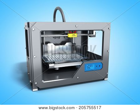Creative Abstract New Technologies Concept Modern Professional Plastic 3D Printer 3D Render On Blue