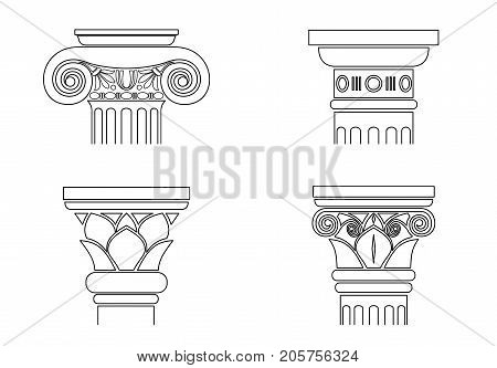 A set of different silhouettes of capitals for architectonic columns. Templates in vector graphics