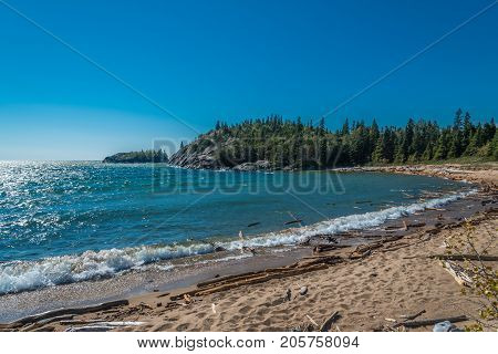 Rocky shore of Superior Lake Canada in summer time
