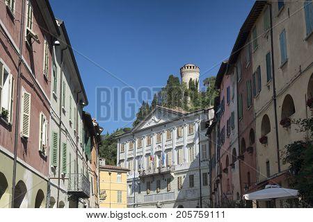 Brisighella (Ravenna Emilia Romagna Italy): historic buildings in the Guglielmo Marconi square