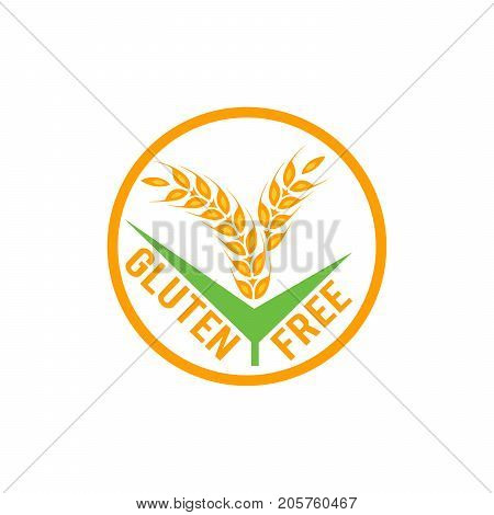 Gluten free vector label sign isolated on white background