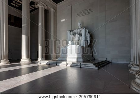 Lincoln Memorial at sunrise in Washington DC, USA.