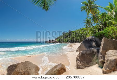Panorama of Anse Intendance at Seychelles, Mahe island. Holiday and vacation concept.
