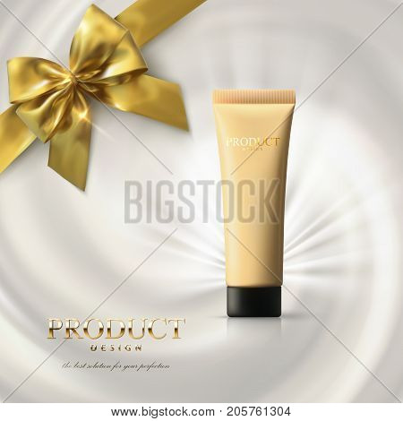 Foundation cream packaging design. Makeup ads poster. Concealer tube on creamy swirling background with golden bow and ribbon. 3d cosmetic product. Realistic vector illustration. Facial tone cream.