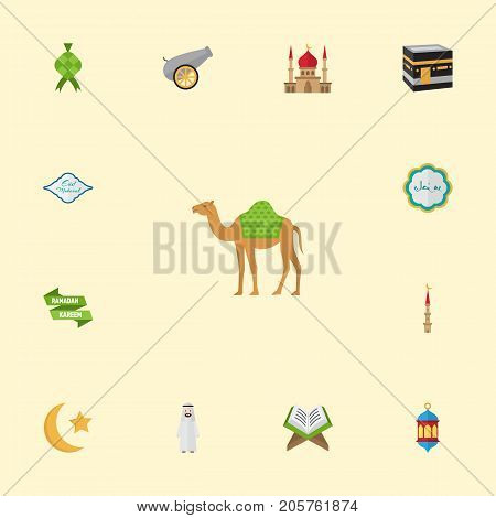 Flat Icons Minaret, Decorative, Islamic Lamp And Other Vector Elements