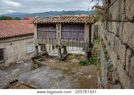 Antique Horreo, vintage street, typical spanish granary