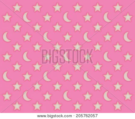 Glowing moons and stars pattern on a pink background