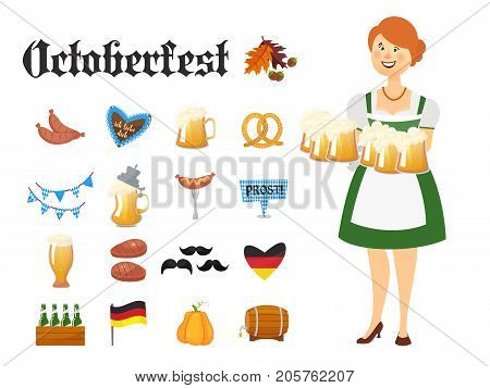 Smiling Bavarian woman dressed in traditional costume and hat with beer glasses and set of Oktoberfest icons. Traditional symbols of autumn holiday of beer isolated on white background. Cartoon style vector illustration
