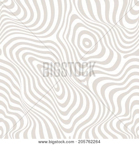 Vector seamless pattern curved lines striped pastel background white & beige. Abstract dynamical rippled texture 3D visual effect illusion of movement curvature. Pop art design repeat tiles