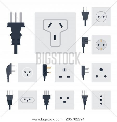 Electric outlet vector illustration energy socket electrical outlets plugs european appliance interior icon. Wire cable cord connection electrical double american supply.