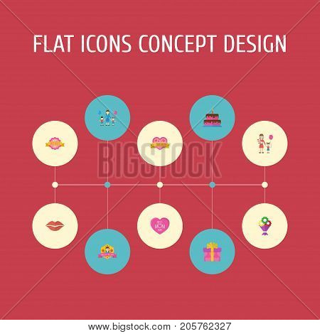 Happy Mother's Day Flat Icon Layout Design With Woman, Sticker And Best Mother Ever Symbols