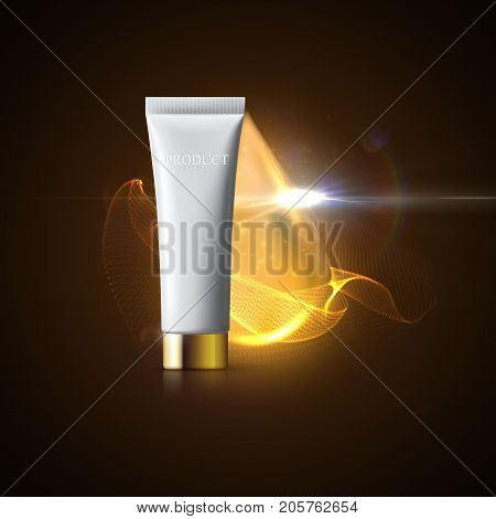 Cosmetic packaging design. Skincare ad poster. Vector illustration of white cream tube with golden lid and shiny organic aroma oil droplet. Anti aging moisturizing formula beauty product