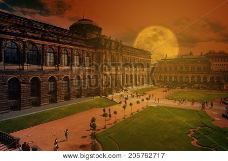 Zwinger - late German Baroque founded in the early 18th century. a complex of four magnificent palace buildings