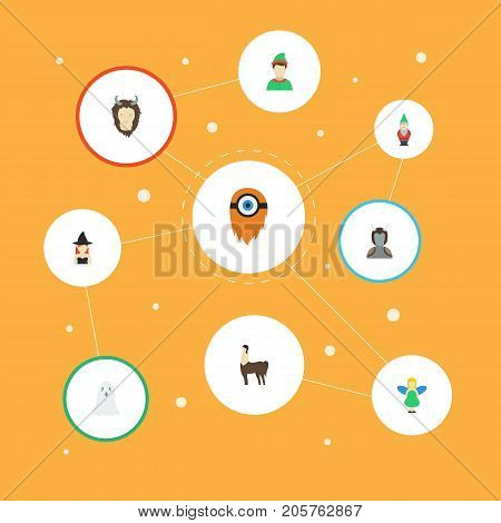 Flat Icons Mythology, Magic, Halloween And Other Vector Elements