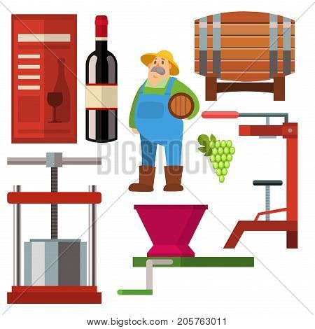 Winery making vintage harvest cellar vineyard glass beverage industry. Alcohol production how wine is made elements infographic. Process natural product machine food vector.