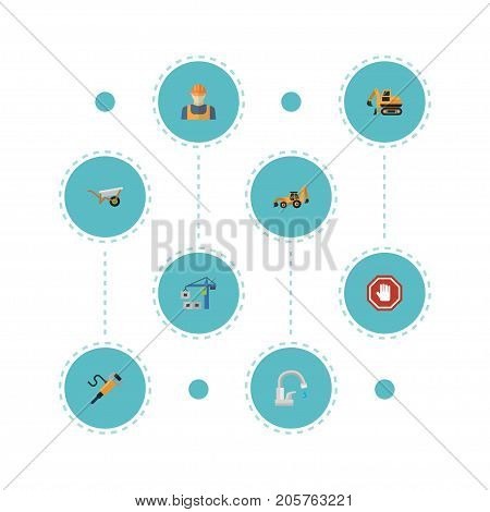 Flat Icons Tractor, Hoisting Machine, Faucet And Other Vector Elements