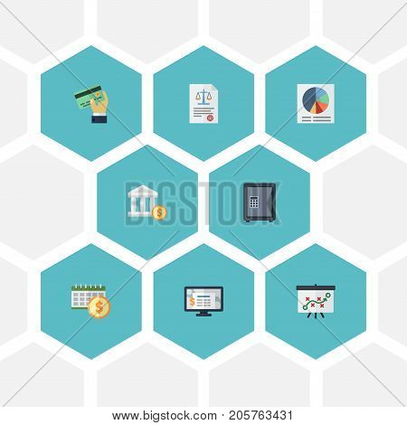 Flat Icons Pie Bar, Act, Card And Other Vector Elements