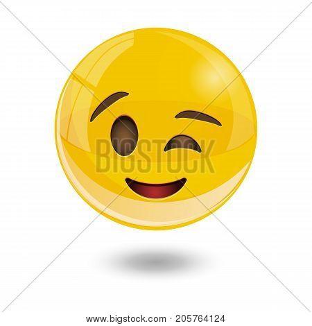 yellow glass smiley emoticons emoji, vector illustration