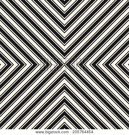 Stripes vector seamless pattern. Simple texture with crossing diagonal striped lines. Monochrome geometric background, repeat tiles. Stylish design for decor, prints, fabric, covers. Lines pattern. Striped background.