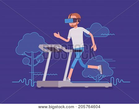 VR man running on track. Sport and real experience of the outdoor location, park and nature view simulator. Virtual reality and entertainment concept. Vector flat style cartoon illustration