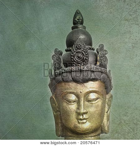 serene buddha head on textured background