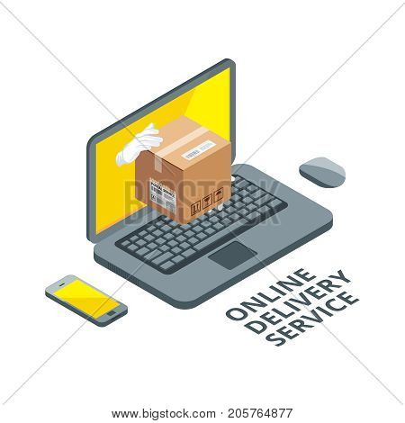 Isometric concept picture of online delivery. Real package from laptop screen. Delivery service order, buy and fast, vector illustration