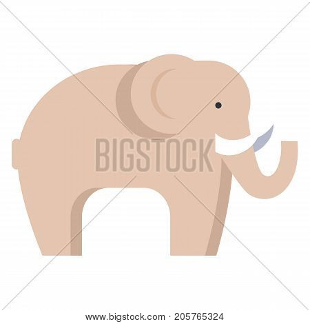 Elephant in beige color isolated on white. Side view of big animal living in hot countries vector illustration in flat design
