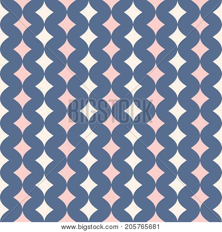 Vector seamless pattern for girls and boys. Modern texture in trendy pastel colors, beige, rose pink, blue serenity. Abstract fashionable background. Design for decoration, wedding, shower. Baby pattern. Boys pattern. Girls pattern. Diamonds pattern