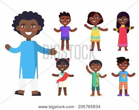 Positive afro-american boy and his friends wishes piece to everyone isolated vector illustration set. Friendship concept in flat style