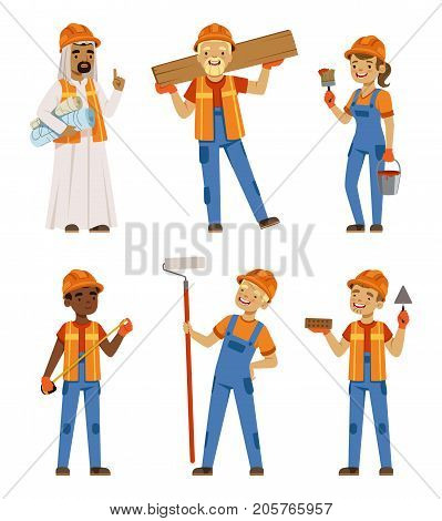 Male and female workers in uniform. Engineers and builders on the work. Vector characters set isolate. Worker engineer character, professiona contractor illustration