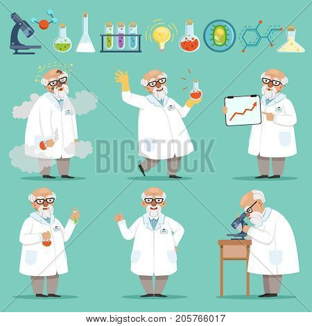 Scientist or chemist at his work. Different accessories in science laboratory. Funny scientist chemist experiment and research illustration