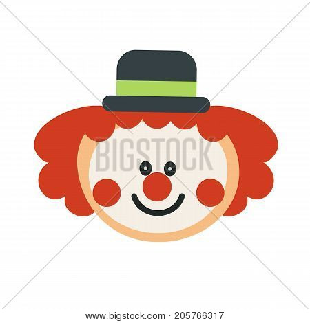 Happy clown cartoon isolated. Clown happy face. Vector stock.