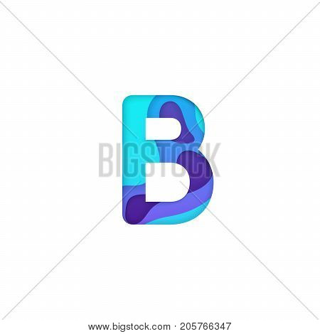 Realistic paper cut letter B. Turquoise and violet alphabet symbol isolated on white background. Paper letter textured with colorful diffuse layers. Carving craft object. Vector art illustration