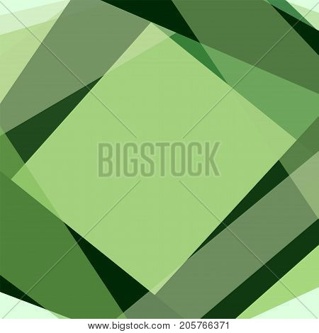 Geometric green background with rhombus frame and text box. Effect of stained-glass window. Abstract template for wallpapers, covers, layouts, scrapbooking, wrapping paper. Vector EPS 10 illustration