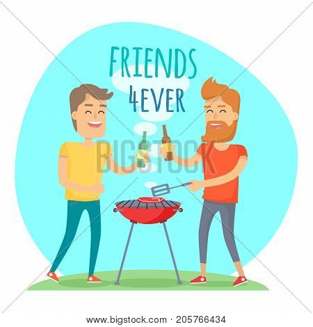 Two man with drink fried meat on barbecue in summer sunny day. Friends forever has funny free time in cartoon style. Boy with beard holding bottle of beer cheers another male vector illustration