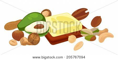Nuts and fruit seeds or bean food vegetarian organic product. Vector icons of avocado nut, cocoa chocolate or peanut, hazelnut or walnut and pistachio kernel, almond or pumpkin and sunflower seeds