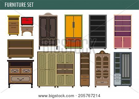 Furniture cabinet bookcase cupboards, wardrobes and wooden kitchen cupboards and closets or drawer chests. Vector modern and vintage office or home interior table shelf flat isolated icons set