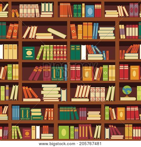 Library book shelf seamless pattern of literature books color covers and magazines on retro bookshop bookshelf. Vector background tile