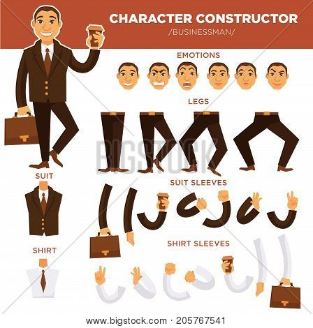 Man character constructor of businessman face, body and suit parts. Vector isolated icons templates of emotions, trousers or shirt and suitcase with coffee cup