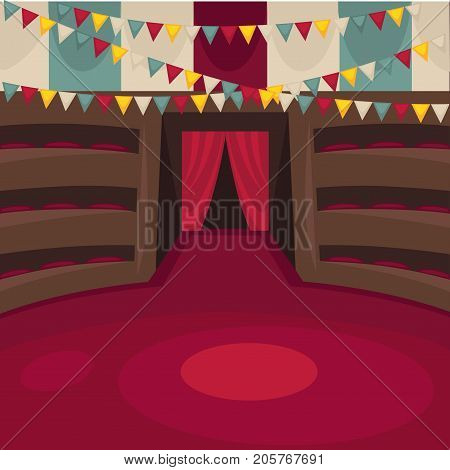 Circus arena with amphitheatrical rows, red curtain, colorful flags under ceiling and bright striped walls vector illustration. Interior design of public place for exciting unusual performances.