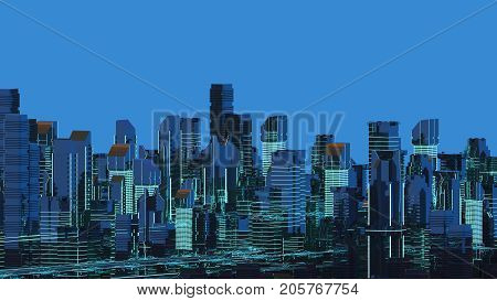 Futuristic skyscrapers in the flow of information. The flow of digital data. city of the future 3d render. 3D illustration.