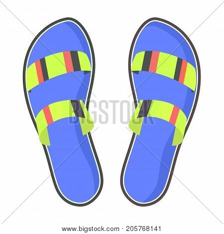 Striped summer flip-flops with blue footbed isolated on white background. Women comfortable footwear for fresh look and beach walks. Fashionable women footwear with a flat sole vector illustration.